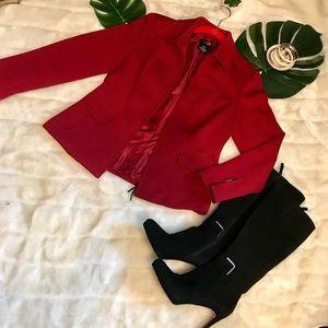 East 5th deep Red Moto Front zip waffle blazer!🧣